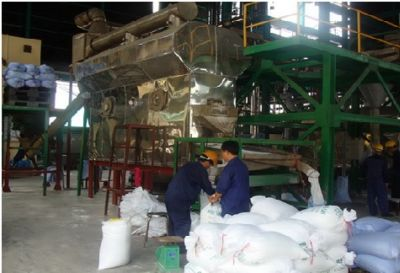 The continuous refine salt fuidized bed dryer with capacity 3000 kg/hour in workshop of chemical experiment Thu Duc, 9 Dist, Ho Chi Minh.